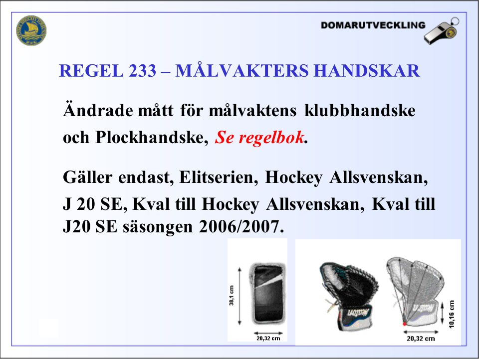 REGEL 233 – MÅLVAKTERS HANDSKAR