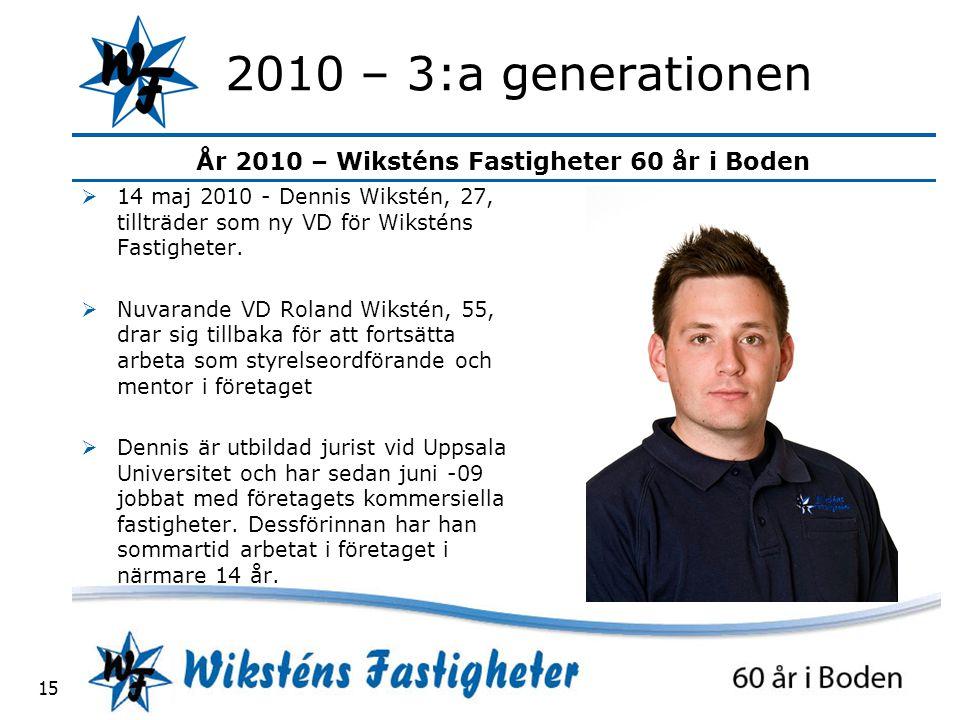2010 – 3:a generationen 14 maj 2010 - Dennis Wikstén, 27, tillträder som ny VD för Wiksténs Fastigheter.