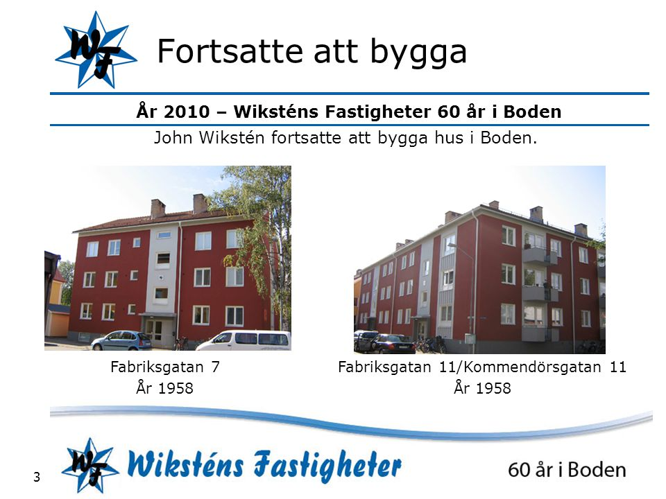 Fortsatte att bygga John Wikstén fortsatte att bygga hus i Boden.