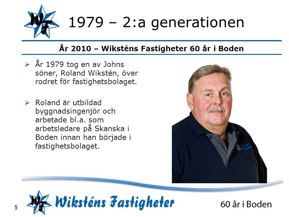 1979 – 2:a generationen År 1979 tog en av Johns söner, Roland Wikstén, över rodret för fastighetsbolaget.