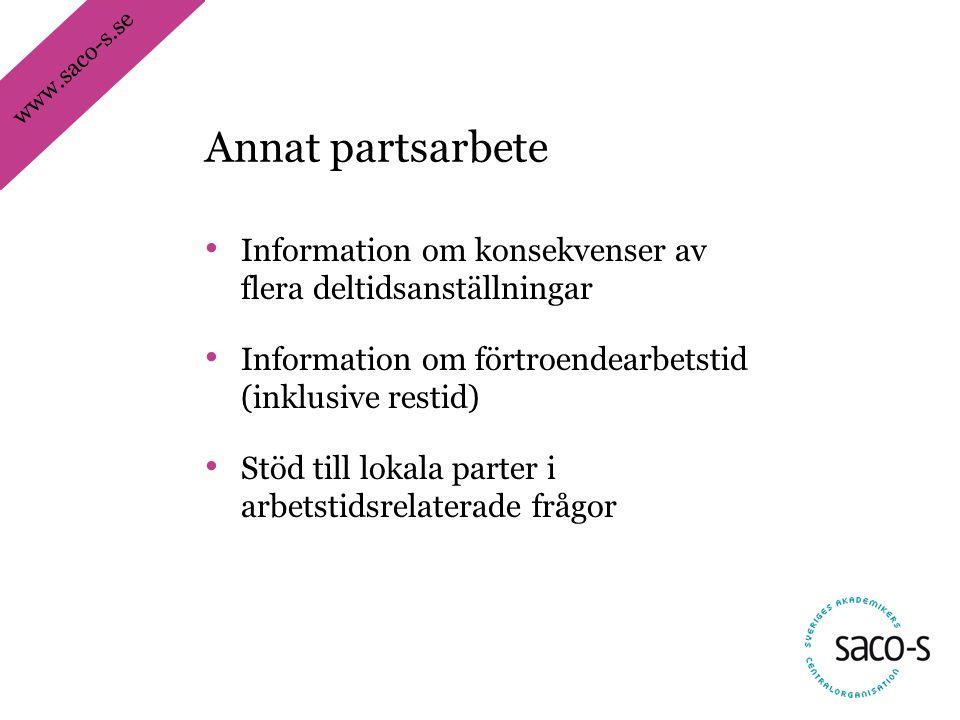 Annat partsarbete Information om konsekvenser av flera deltidsanställningar. Information om förtroendearbetstid (inklusive restid)
