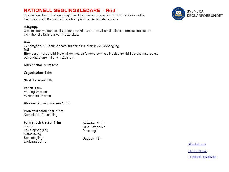 NATIONELL SEGLINGSLEDARE - Röd