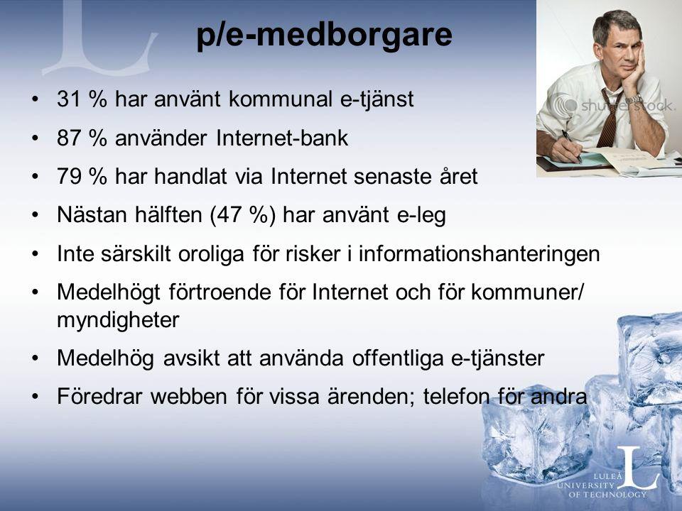 p/e-medborgare 31 % har använt kommunal e-tjänst