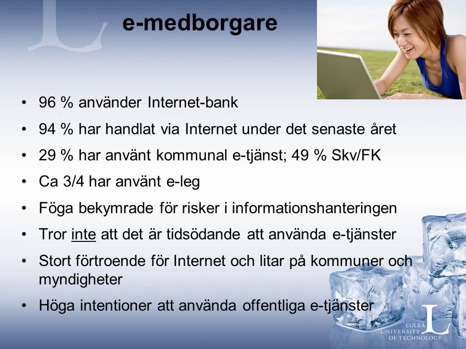 e-medborgare 96 % använder Internet-bank