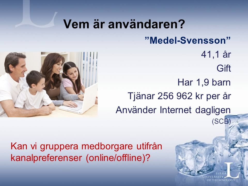 Vem är användaren Medel-Svensson 41,1 år Gift Har 1,9 barn
