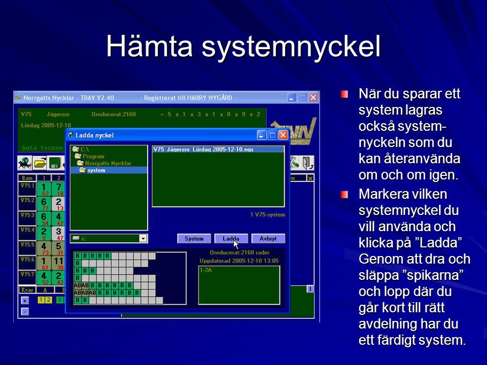 Hämta systemnyckel När du sparar ett system lagras också system-nyckeln som du kan återanvända om och om igen.