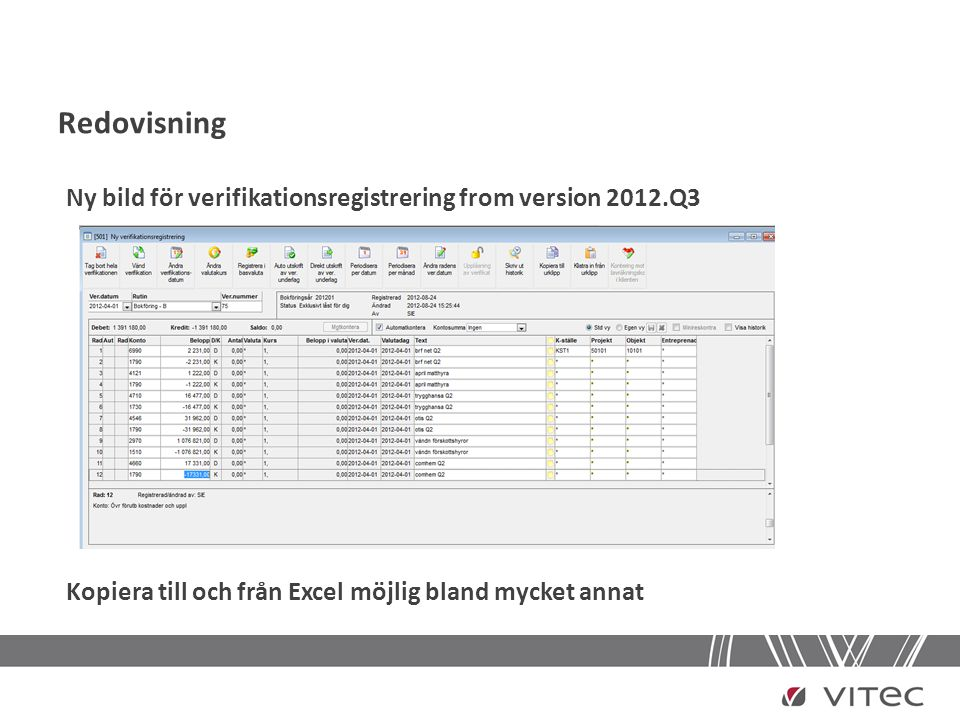 Redovisning Ny bild för verifikationsregistrering from version 2012.Q3
