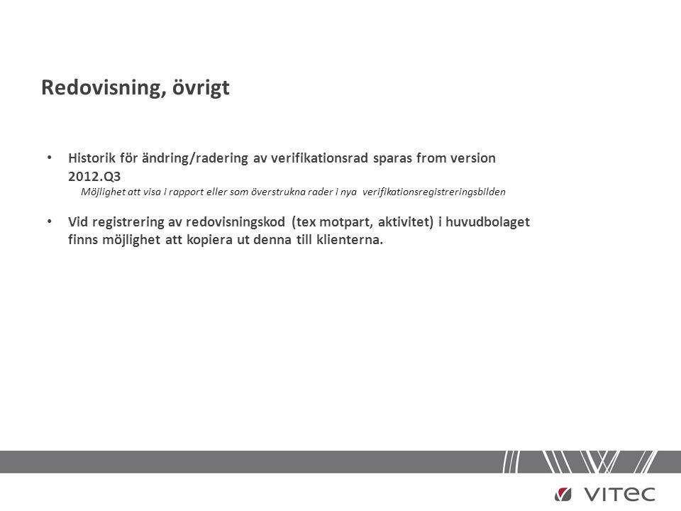 Redovisning, övrigt Historik för ändring/radering av verifikationsrad sparas from version 2012.Q3.