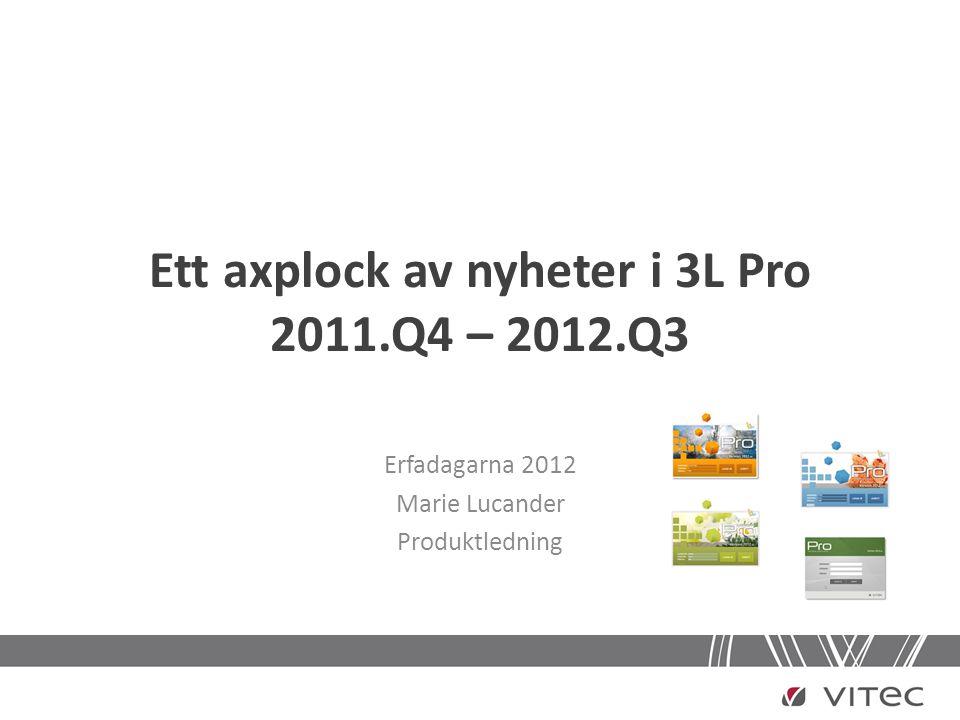 Ett axplock av nyheter i 3L Pro 2011.Q4 – 2012.Q3