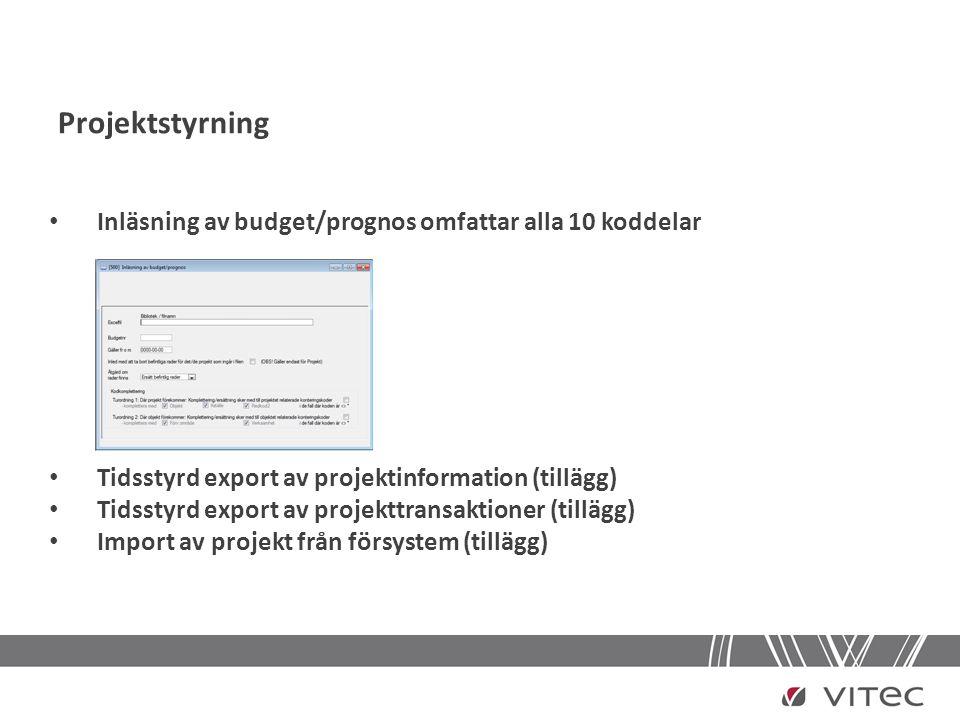 Projektstyrning Inläsning av budget/prognos omfattar alla 10 koddelar