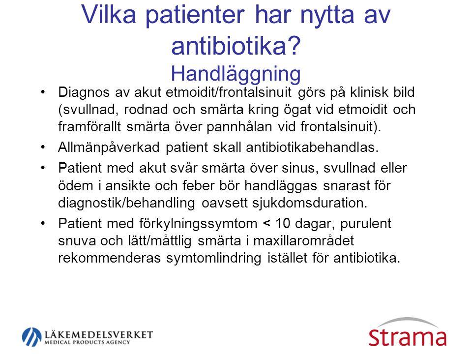Vilka patienter har nytta av antibiotika Handläggning