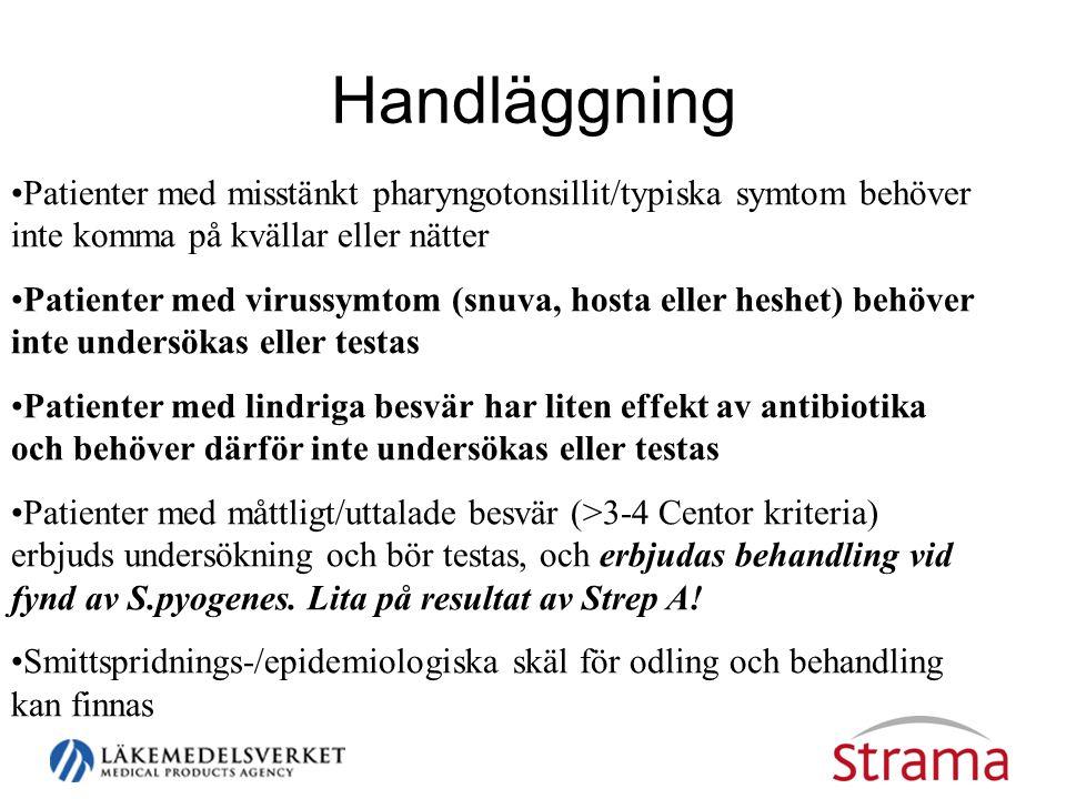 Handläggning Patienter med misstänkt pharyngotonsillit/typiska symtom behöver inte komma på kvällar eller nätter.