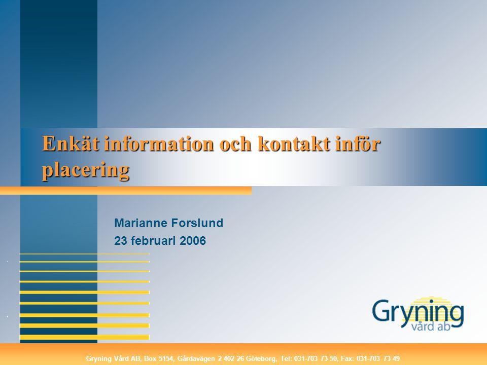 Enkät information och kontakt inför placering