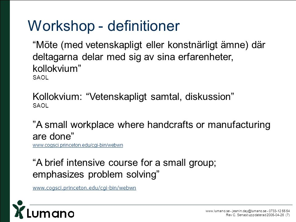 Workshop - definitioner