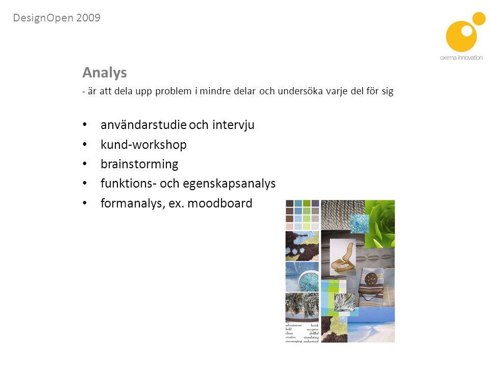 Analys användarstudie och intervju kund-workshop brainstorming