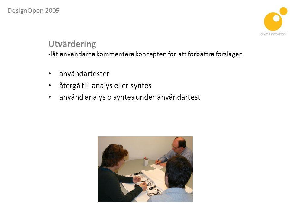 Utvärdering användartester återgå till analys eller syntes