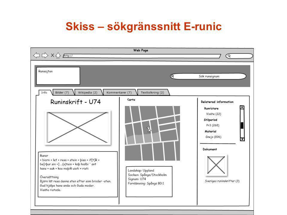 Skiss – sökgränssnitt E-runic
