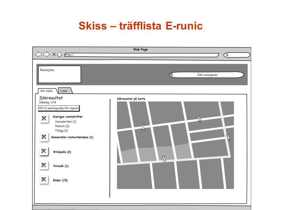 Skiss – träfflista E-runic