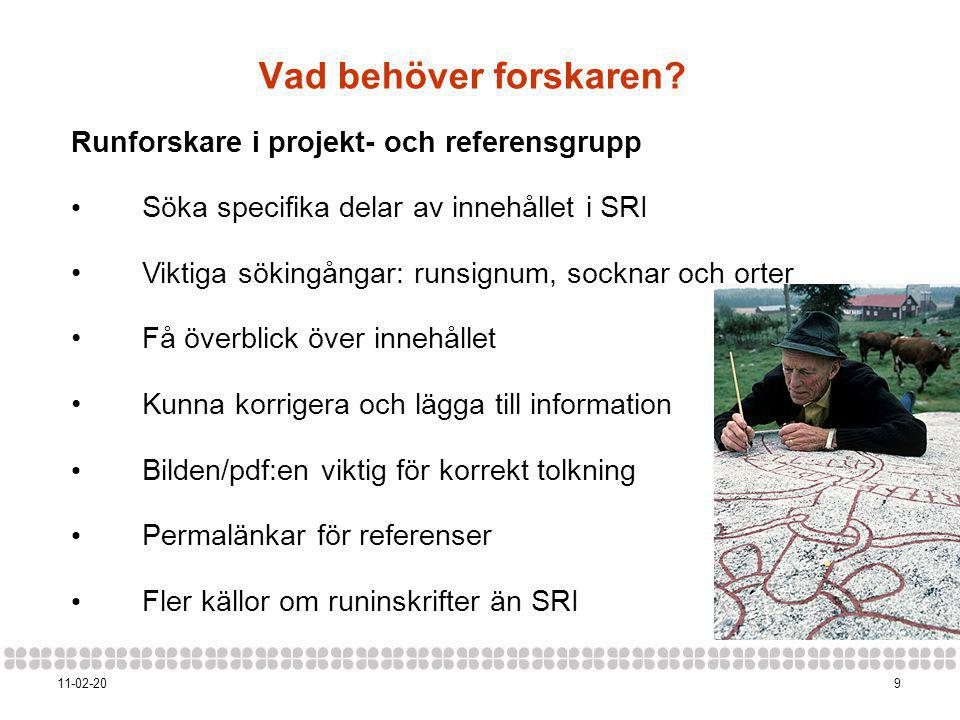 Vad behöver forskaren Runforskare i projekt- och referensgrupp