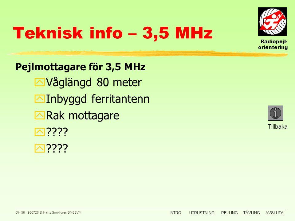 Teknisk info – 3,5 MHz Våglängd 80 meter Inbyggd ferritantenn