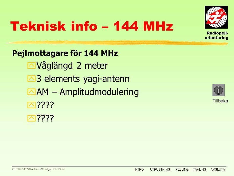 Teknisk info – 144 MHz Våglängd 2 meter 3 elements yagi-antenn