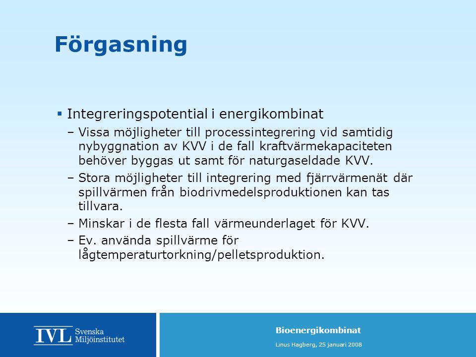 Förgasning Integreringspotential i energikombinat