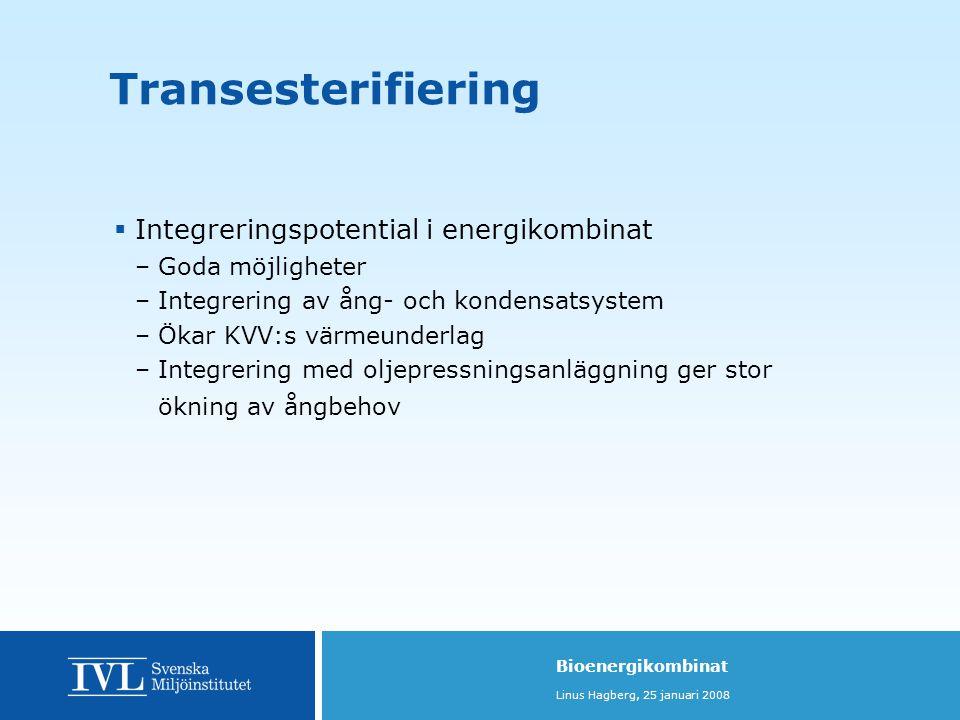 Transesterifiering Integreringspotential i energikombinat