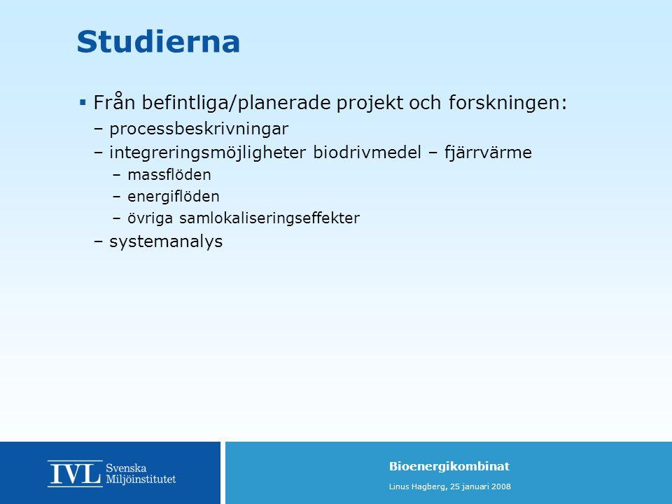 Studierna Från befintliga/planerade projekt och forskningen: