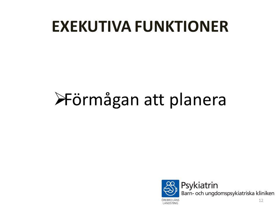 EXEKUTIVA FUNKTIONER Förmågan att planera