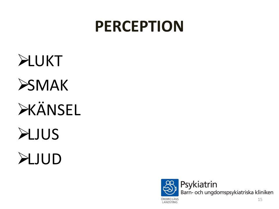 PERCEPTION LUKT SMAK KÄNSEL LJUS LJUD