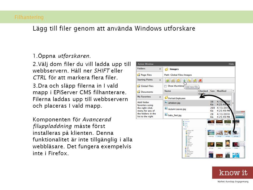 Lägg till filer genom att använda Windows utforskare