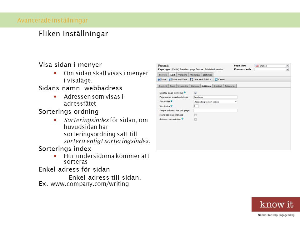 Fliken Inställningar Visa sidan i menyer Sidans namn webbadress