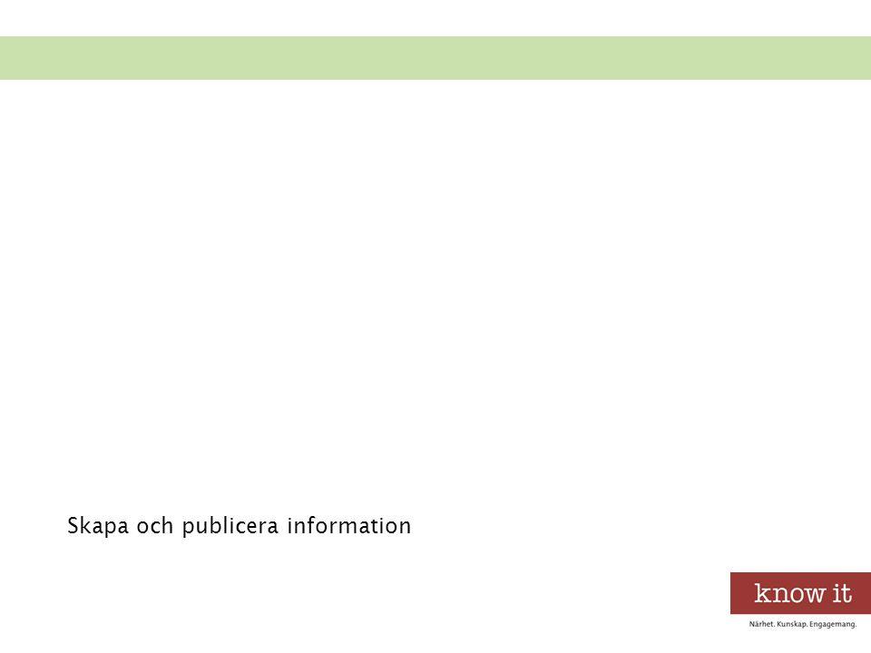 Skapa och publicera information