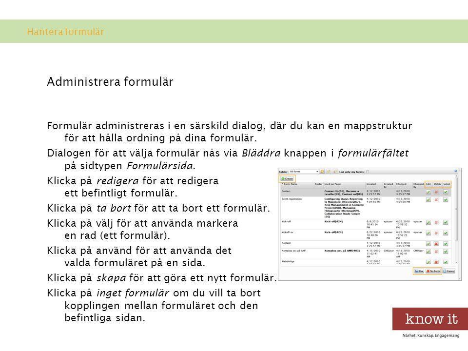 Administrera formulär