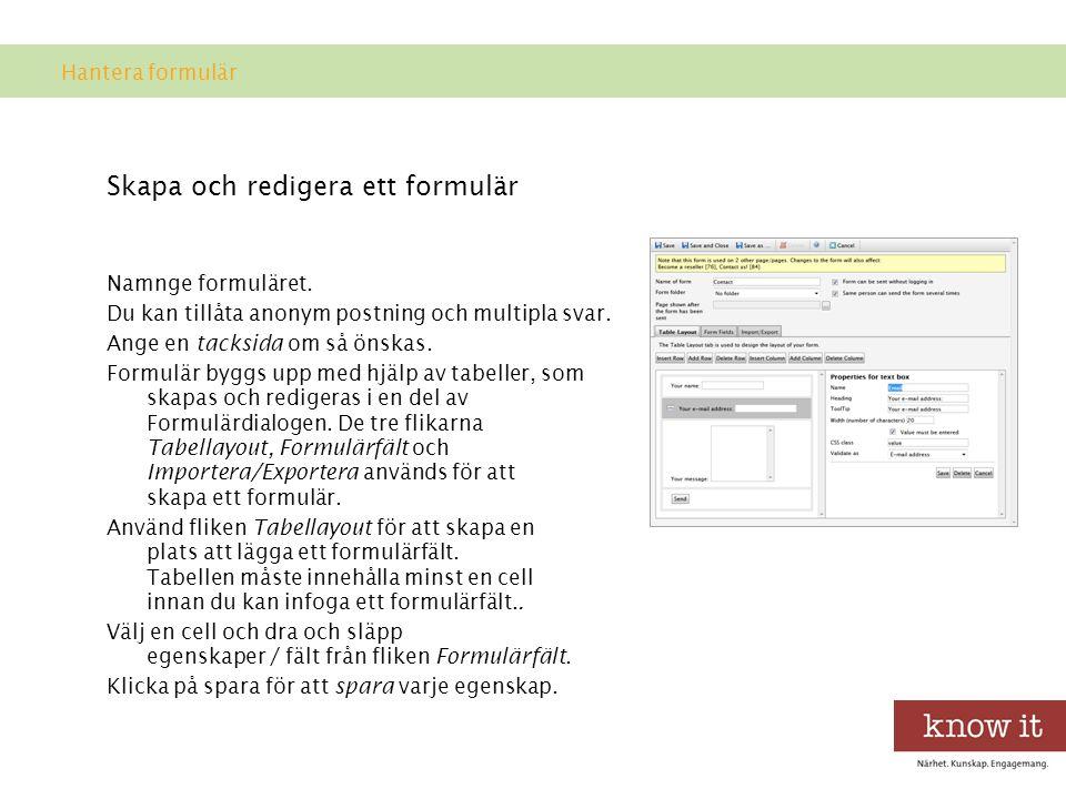 Skapa och redigera ett formulär