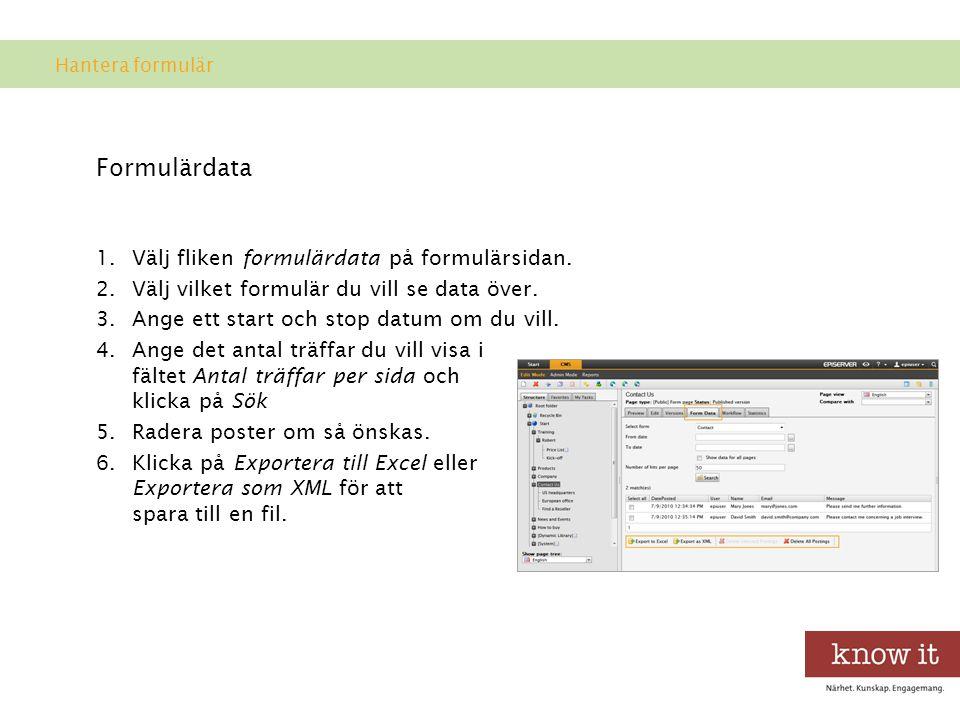 Formulärdata Välj fliken formulärdata på formulärsidan.