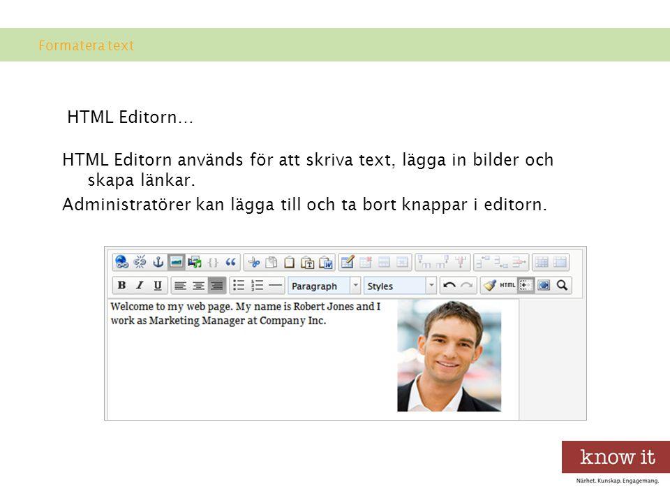 Formatera text HTML Editorn…