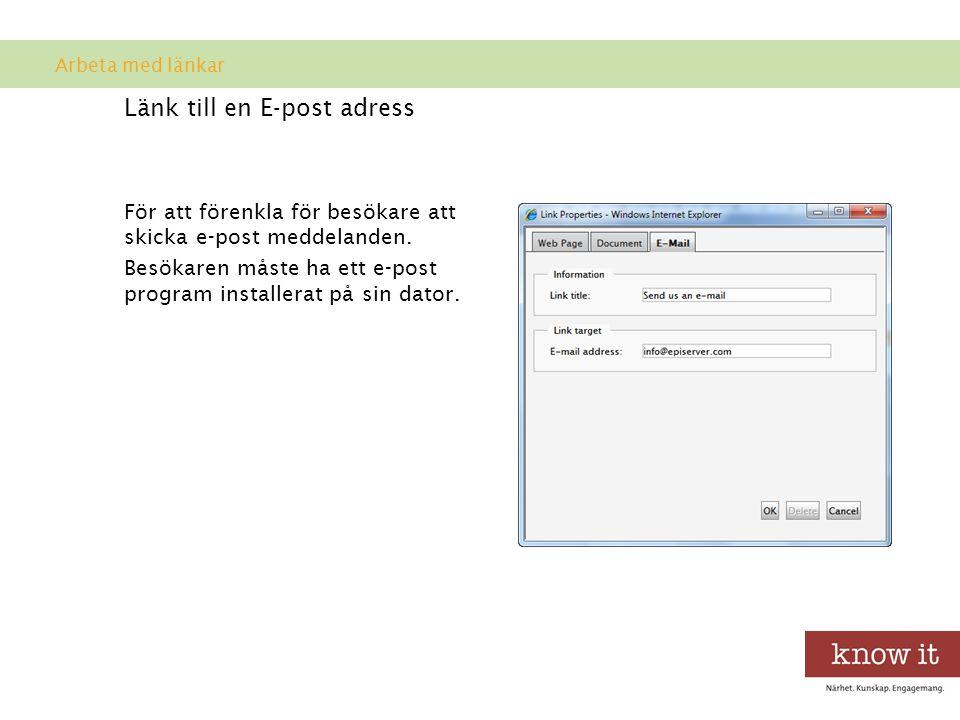 Länk till en E-post adress