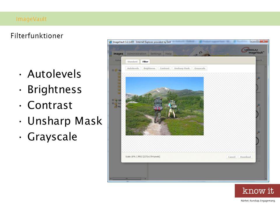 Autolevels Brightness Contrast Unsharp Mask Grayscale Filterfunktioner