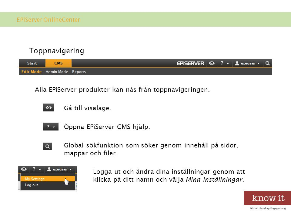 EPiServer OnlineCenter