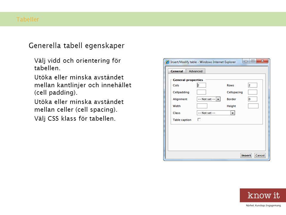 Generella tabell egenskaper