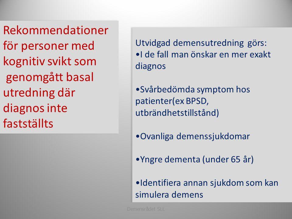 Rekommendationer för personer med kognitiv svikt som