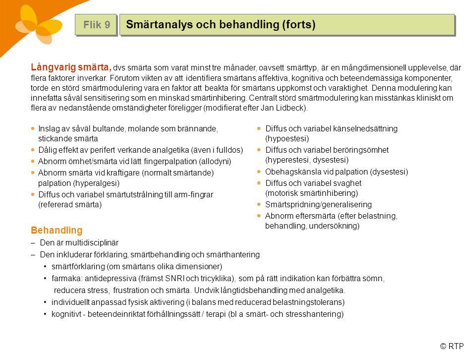 Smärtanalys och behandling (forts)