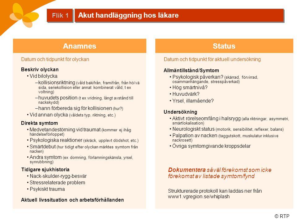 Anamnes Status Akut handläggning hos läkare Flik 1