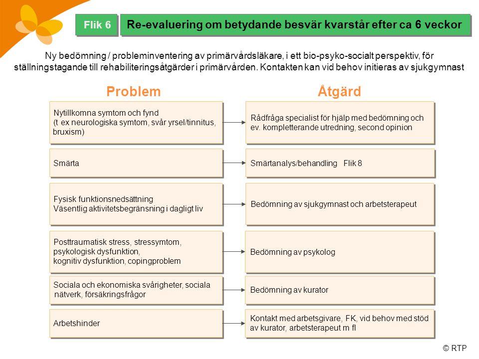 Flik 6 Re-evaluering om betydande besvär kvarstår efter ca 6 veckor.