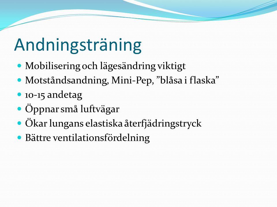 Andningsträning Mobilisering och lägesändring viktigt