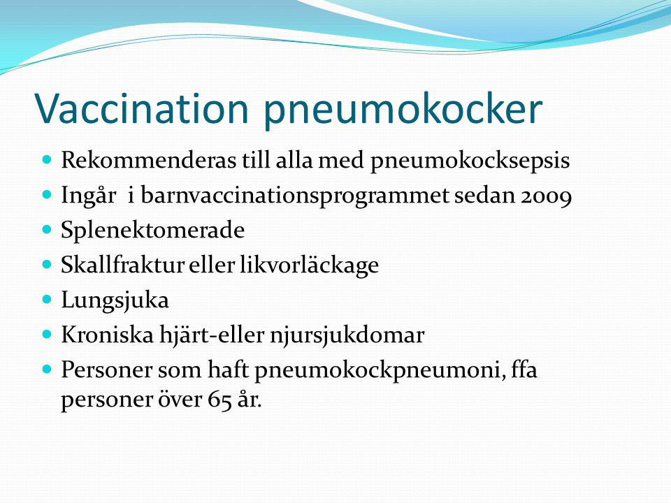 Vaccination pneumokocker