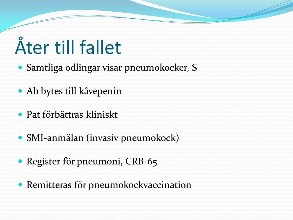 Åter till fallet Samtliga odlingar visar pneumokocker, S