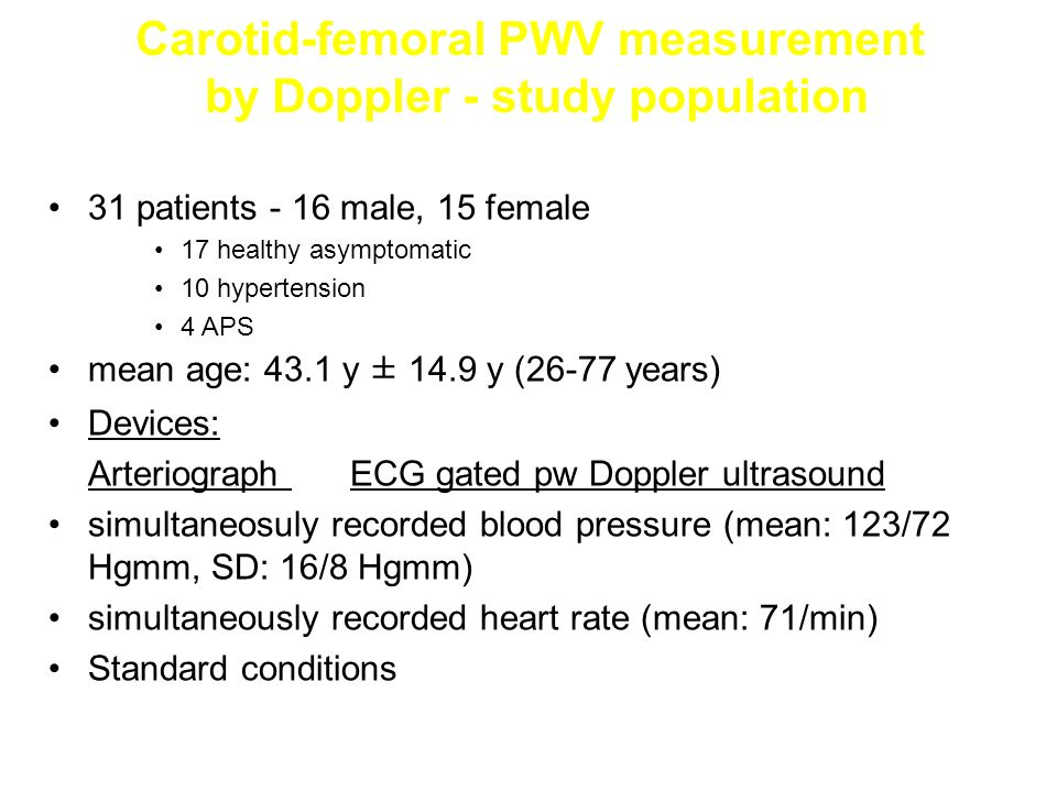 Carotid-femoral PWV measurement by Doppler - study population