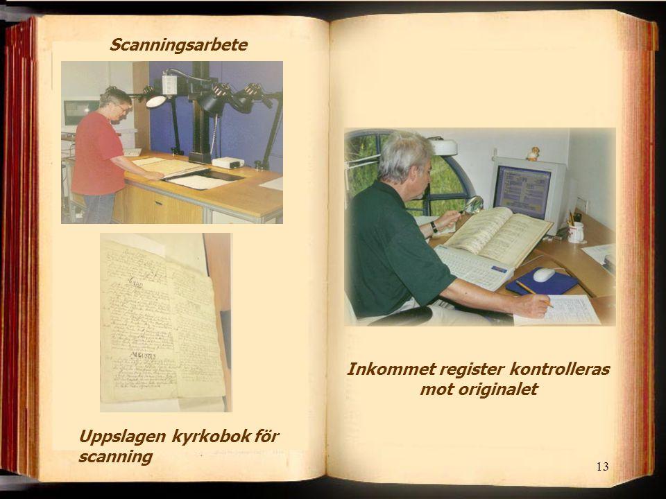 Inkommet register kontrolleras mot originalet